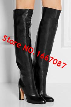 Сексуальные черные сапоги колено высокие поскользнуться на зиму теплее Botas femininas женщин высокой пятки пастушка сапоги хип-хоп сапоги мотоцикла Botas