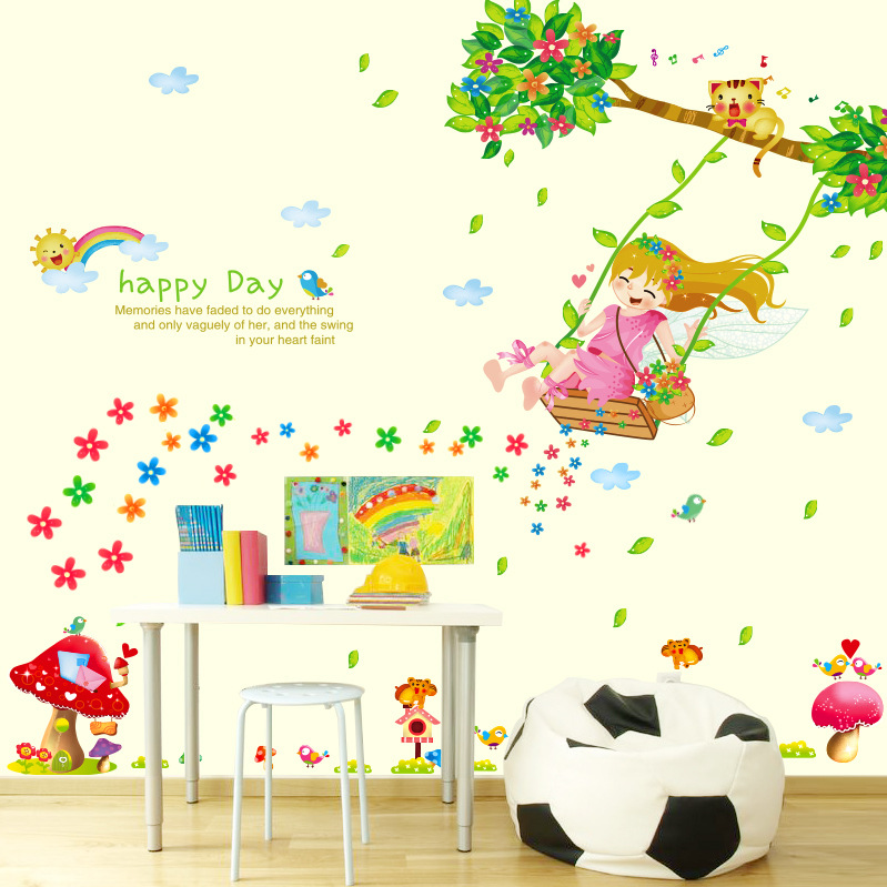 Foreign trade wall stickers wholesale cute characters stickers kindergarten children room decoration stickers swing girl(China (Mainland))