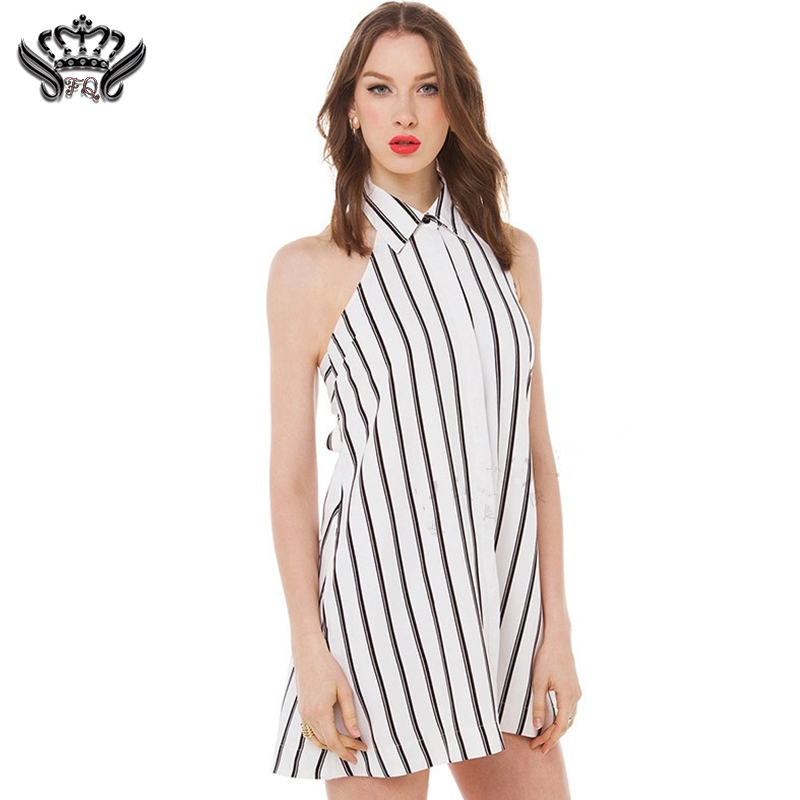 women summer sexy backless dress loose mini dress evening party Sleeveless black and white striped dress plus size bodycon dress(China (Mainland))