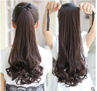 Women's Synthetic Hair long wave drawstring style ponytail and new brand cheap and fashion Ponytails