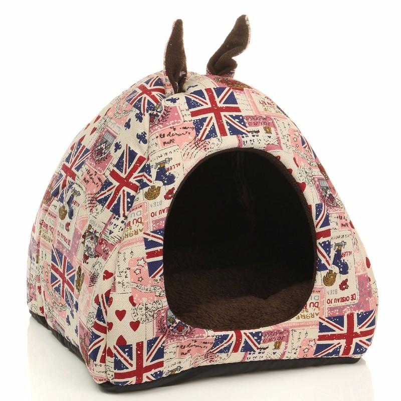 3 Size Pet Dog Puppy Sleeping House Union Flag Printed Plush Linen Warm Soft Cushion Dogs Cat Hut Basket Kennel Pad(China (Mainland))
