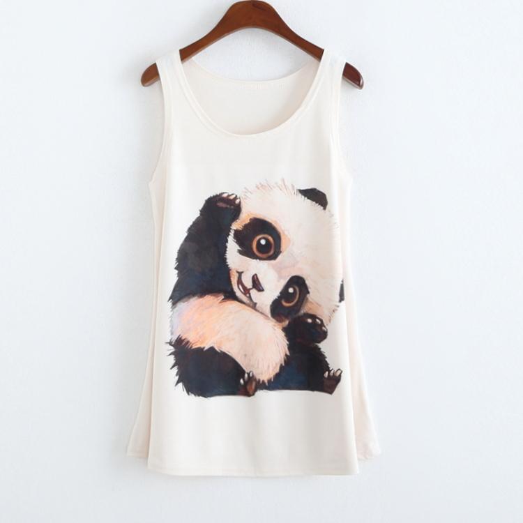 CAYA BOX , summer style Prinit panda/rose/butterfly women long tank top cropped Womens Sleeveless T Shirt Tee Vest plus-size - Bob shop store