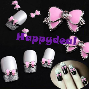 2014 New 10pcs Pink 3d Bow Tie Butterfly Rhinestones Nail Art DIY Alloy Decoration Glitters Slices Free Shipping(China (Mainland))