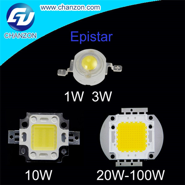 High Power LED Chip 1W 3W 10W 20W 30W 50W 100W Warm White Red Green Blue Yellow RGB Epistar LED Beads(China (Mainland))