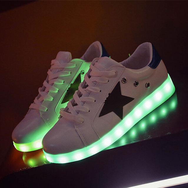 7 цветов из светодиодов обувь светящиеся любителей мода мужчины женщины USB загораются ...