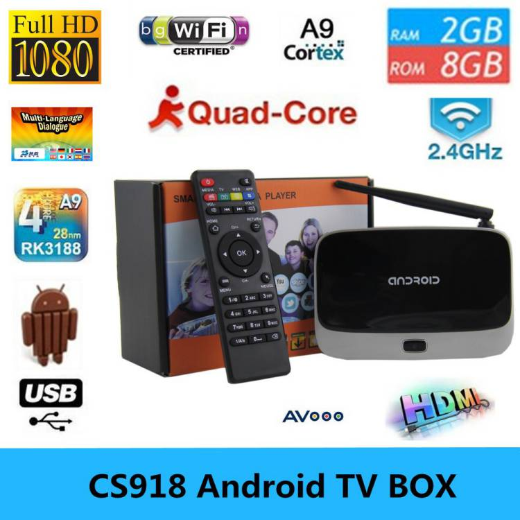 Original KODI Android TV Box Quad Core CS918 2G RAM 8G ROM Android 4.2.2 Quad core RK3188T TV BOX Smart Media Player Bluetooth(China (Mainland))