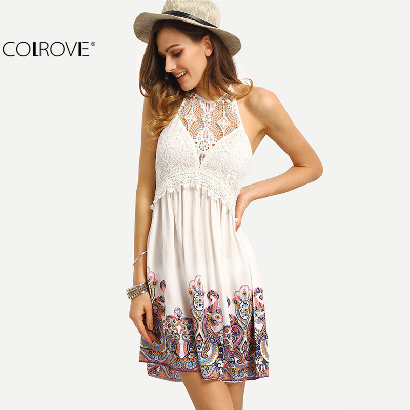 COLROVE Sexy Beach Off The Shoulder Women White Print Halter Patchwork Lace Backless Dresses Summer New Sleeveless Dress(China (Mainland))