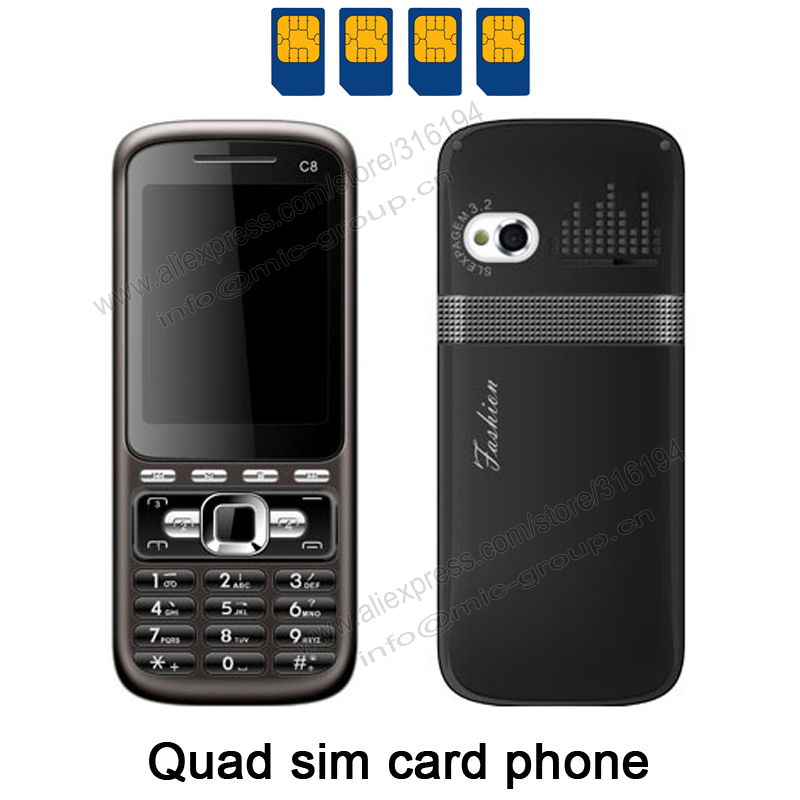4 Sim Cards 4 Standby Mini Slim Mobile Phone with Metal Cover Analog TV Bluetooth Camera MP3 Russian Keyboard Phone C8 P155(China (Mainland))