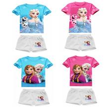 Girl Summer Frozen Clothing Sets Girl's Short sleeve T Shirt+Short Pants Girls Suits Sets Children Shorts New 2017 15F(China (Mainland))