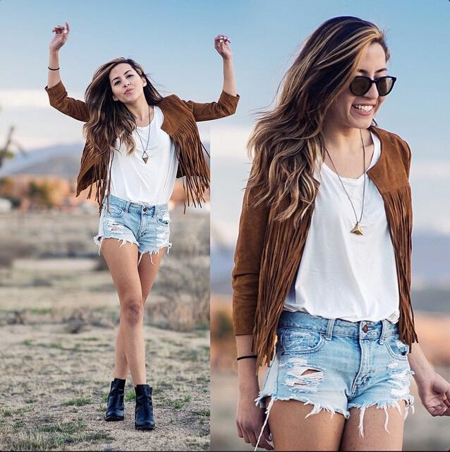 Women Jacket Casual 2015 New Fashion Autumn Summer O-neck Tassel Coat Jacket Hot sale plus size Chaquetas Mujer Casaco Feminino(China (Mainland))