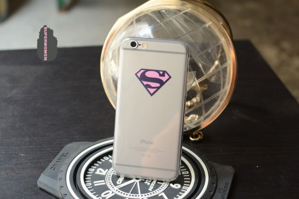High Quality Cartoon Superman Superwoman TPU Soft Painted Couple Phone Case Cover For iPhone 5/5s 6/6s 6Plus/6s Plus