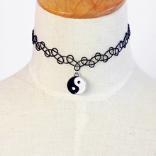 Vintage Stretch Eight Diagrams Choker Necklace Retro Gothic Punk Elastic Gift Drop Shipping NL-0289-BK(China (Mainland))