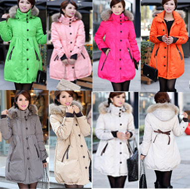 maternity clothing 2015 womens coats clothes winter fur coat pregnant women white duck jacket lady jackets parka S-7XL - Trista Lin store