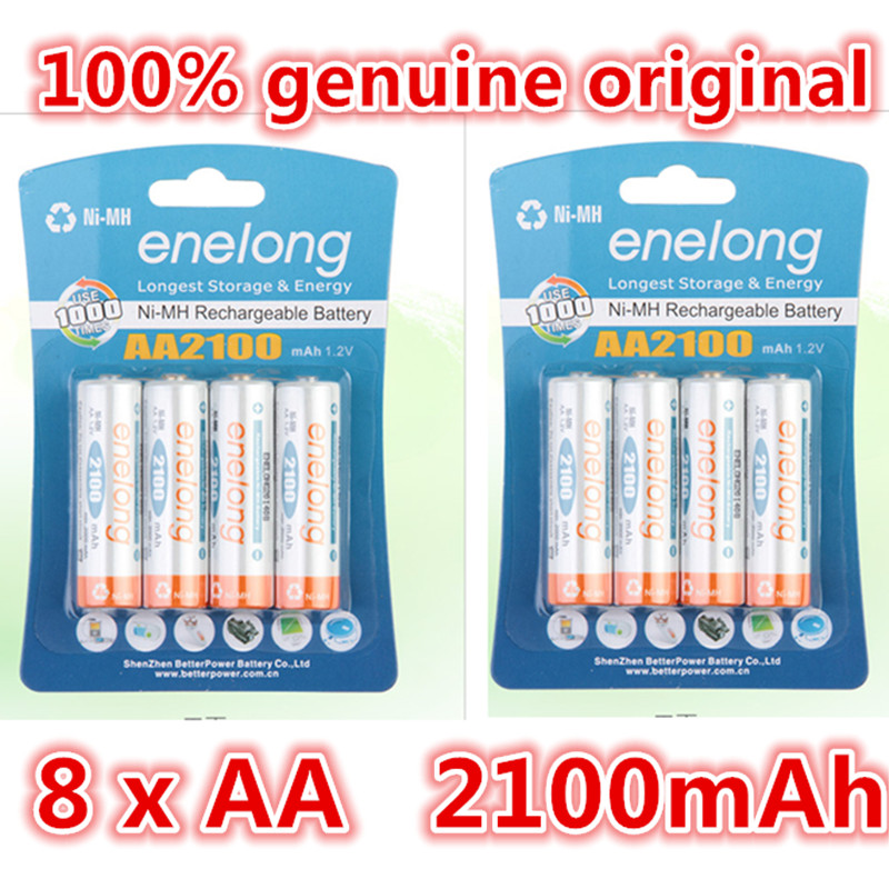 8pcs 100% genuine original enelong 2100mAh NiMH AA rechargeable batteries, high-quality toys, cameras, flashlights and battery<br><br>Aliexpress