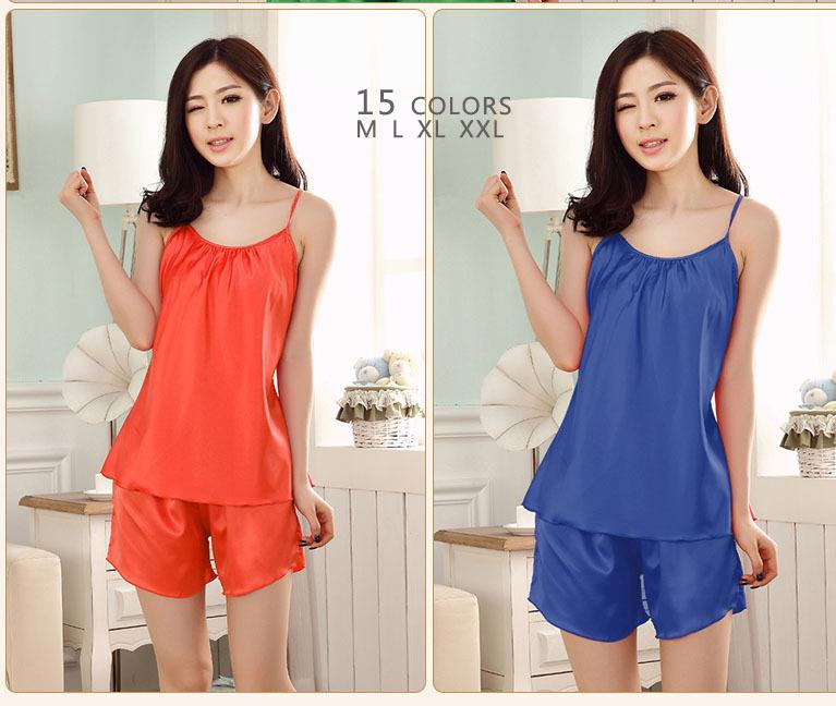 Free women silk pink orange blue 15 colors sleeveless round collar nightgown pigama girl student shorts pyjamas M L XL XXL 5012(China (Mainland))