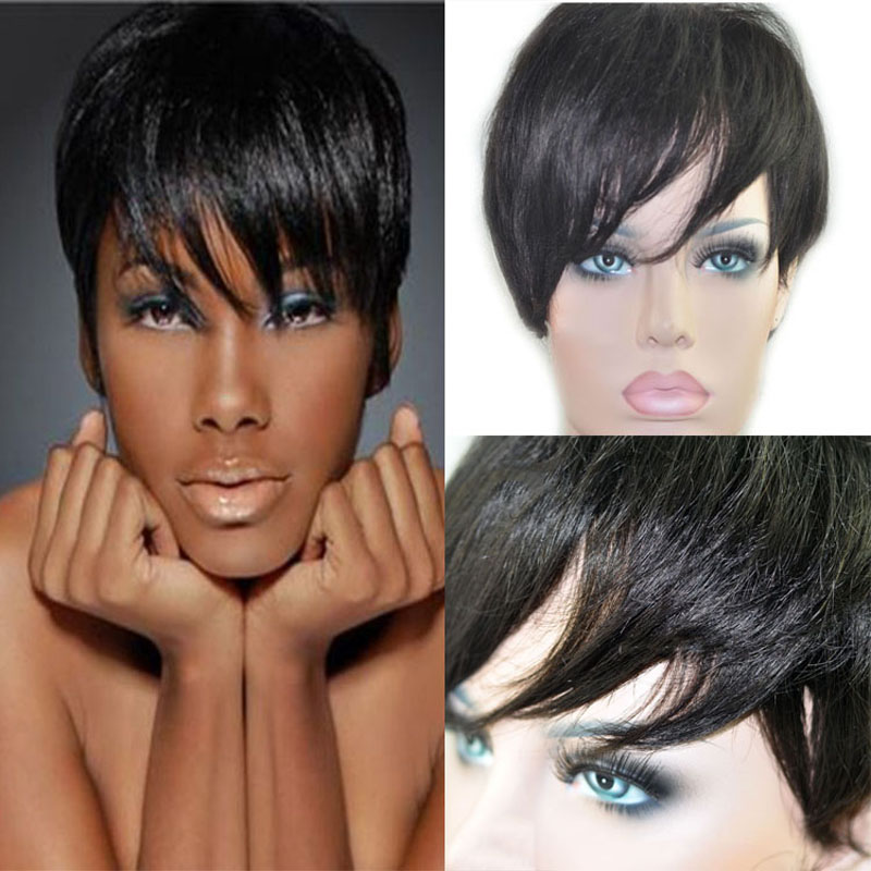 Cheap Black Women Short Pixie Wigs Human Natural Hair Wigs