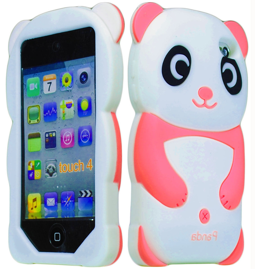 Cute Baby Pink 3D Panda Animal Silicone Case Cover for iPod Touch 4th Generation(China (Mainland))