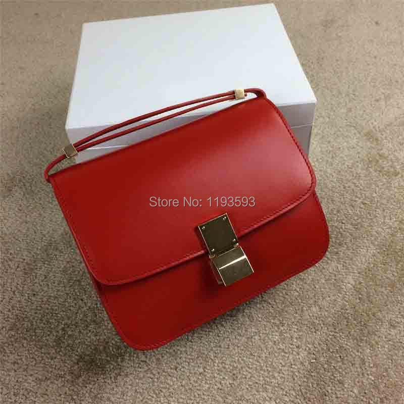 2015 new lady's genuine leather classic box shoulderbag,23cm,original quality cowhide,good price(China (Mainland))
