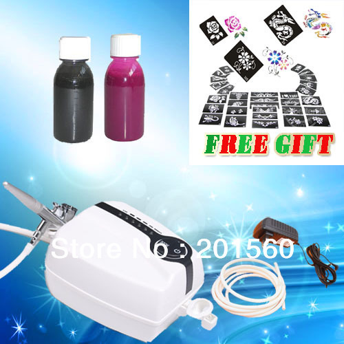 Portable Mini makeup Airbrush Compressor 5 Adjustale speed with Spray gun 2 color inks kit FREE SHIPPING