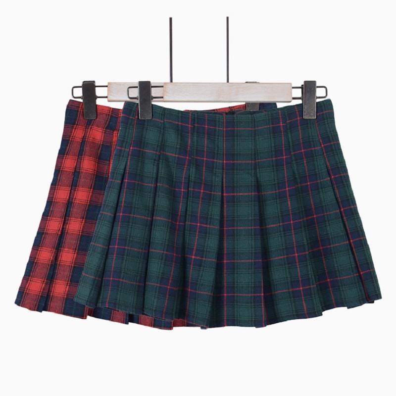 New Summer Skirts Women Clothing Fashion Women skirt Mini skirt Plaid High Waist Short Pleated font