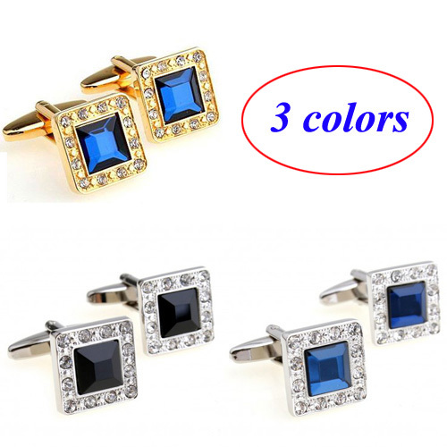 Silver Gold Metal Black Blue Stone Cufflink Cuff Link 1 Pair Free Shipping Biggest Promotion(China (Mainland))