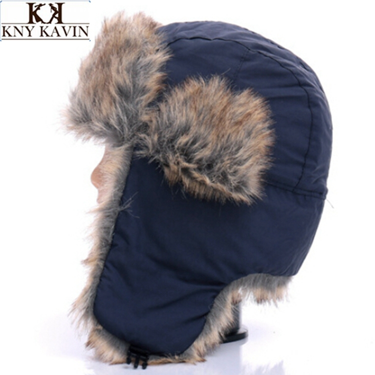 Free shipping High Quality Winter Men Aviator Hats Russian Fur Hat Sport Outdoor Bomber Lei Feng Caps with Ear Flaps For Male(China (Mainland))