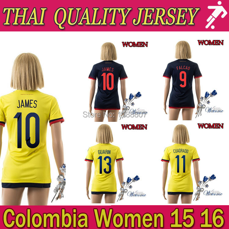 New stock! 2015 colombia Women soccer jersey home yellow JAMES FALCAO soccer jerseys away Colombian girl soccer shirt futbol(China (Mainland))