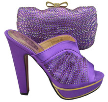2015 Free shipping matching shoes and bags italy sexy ladies dress shoes with bag, purple color(China (Mainland))