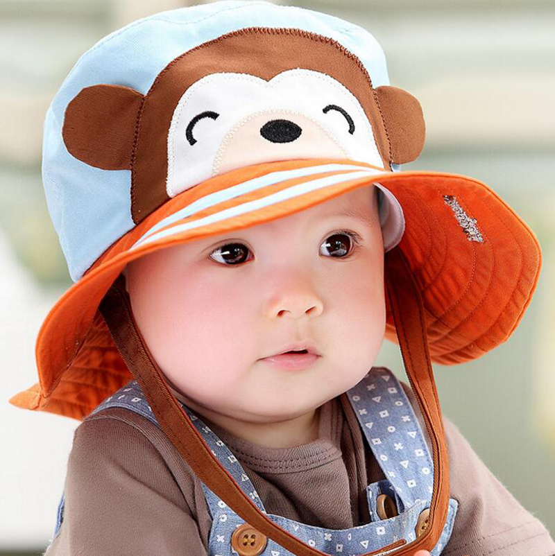 2016 Toddler Infant Sun Hat Baby Cap Newborn Photography Props Spring Summer Outdoor Wide Brim Baby Girl Hat Beach Bucket Hat(China (Mainland))