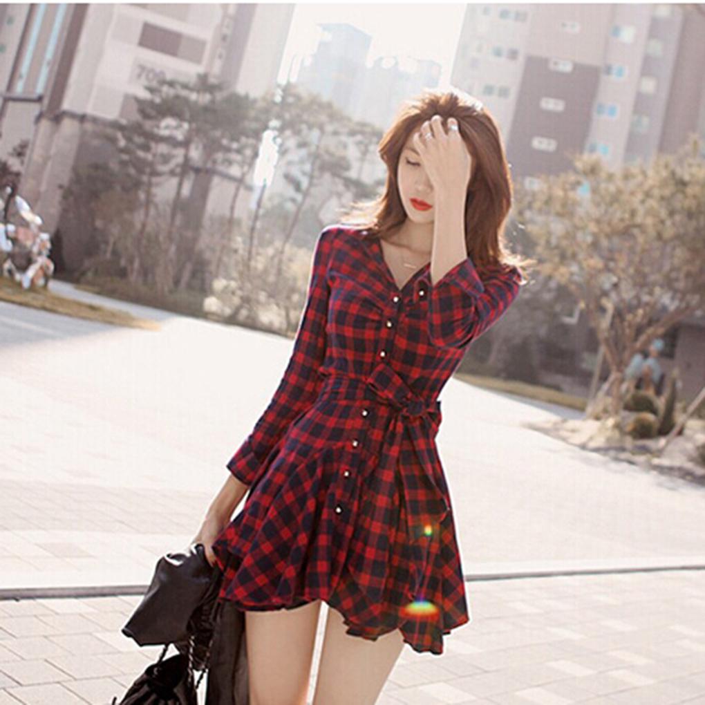 Limit buy Autumn Slim Midi Dress Red Grid Long Sleeve V-Neck Dress For Women(China (Mainland))