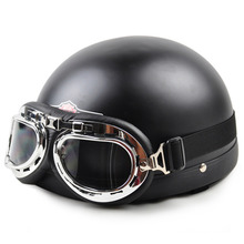 2015 New Vintage Style Open Face Half Motorcycle Scooter & Motorbike Helmet & Goggles & Visor Capacete Free Shipping(China (Mainland))