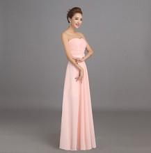 Peachy Pink Bridesmaid Dress Long Chiffon Cheap Winter Wedding Party Prom Dresses Vestido De Festa De Casamento Dama De Honra(China (Mainland))