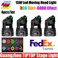 Cheap Price 4Pcs Lot 15W Mini Led Moving Head Wash Light With Gobo Plater Color Plate