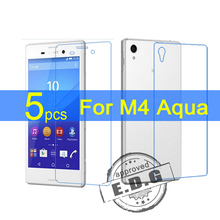 5pcs Ultra Clear LCD Screen Protector Film Cover For Sony M4 Aqua Back Protective Film + cloth
