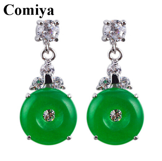 Personalized Gift Woman Girl's Ethnic Vintage Round Jade Green Crystal rhinestone Dangling Silver Plated Womens Drop Earrings(China (Mainland))