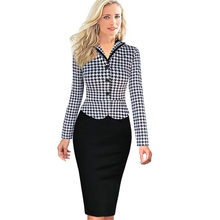 Autumn Winter New Women Elegant Faux Twinset Pencil Dresses Lapel Tartan Bow Belt Patchwork Work Office Sheath Dress 2016 DR0128