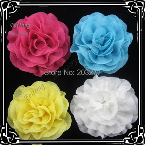 24pcs/lot 17 colors for your choose 2.5 inch chiffon flower silk flower brooch pin(China (Mainland))