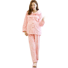 Autumn Winter Flannel Maternity Clothes Long Sleeve Thickening Breastfeeding Pajamas For Pregnant Free Shipping Asian Size L-XL