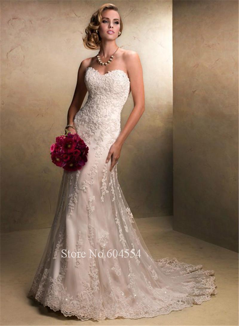 2015 Stock Vestido De Noiva US Size 4-6-8-10-12-14-16-18-20-22 White/Ivory Applique A-Line Lace Wedding Dress Robe De Mariage(China (Mainland))