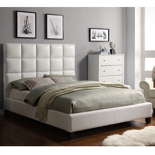 High Back Modern leather Soft Bed,Cream White leather Best Furniture at Bedroom, Modern Design Soft Beds SA05(China (Mainland))