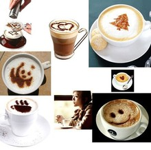 16Pcs set Art Coffee Plastic Plate Stencil Template Strew Pad Duster Spray Latte Hot