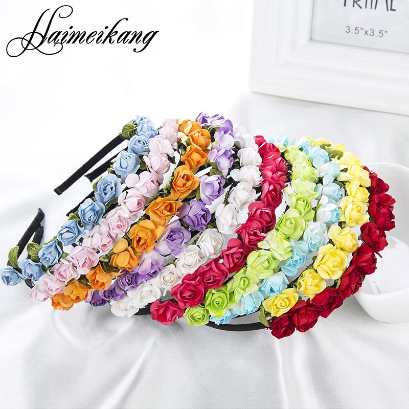 2016 Cute Rose Flower Crown Festival Headband Headwear Wedding Garland Floral Hairband Accessories(China (Mainland))