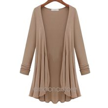 New 2015 Autumn Spring Fashion Women Casual Cardigan, Flounce Hemline Solid Color Loose Coat Cardigans Plus Size Y10*E3119#M5(China (Mainland))
