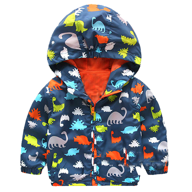 Baby Boy Hooded Jackets 2016 New Brand Softshell Character Jackets Kids Coat Active Hooded Printed Dinosaur Children Coats(China (Mainland))