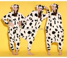 Корова одна часть костюм Onesies пижамы комбинезон толстовки взрослых косплей костюмы для хэллоуина и карнавал