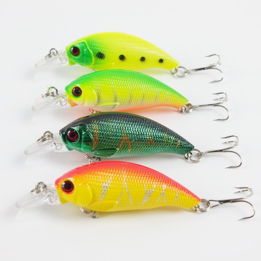 Lot 4pcs crank bait 4colors fishing lure hard for Lot of fish