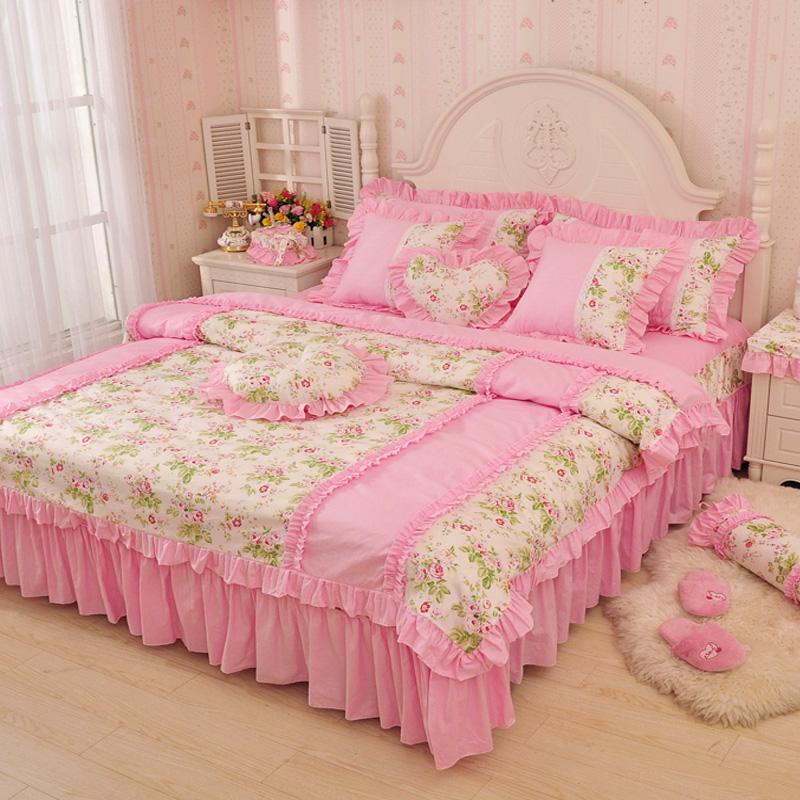 Luxury pink green blue ruffle bedding set twin full queen king size 100 cotton girl princess - Twin size princess bed set ...