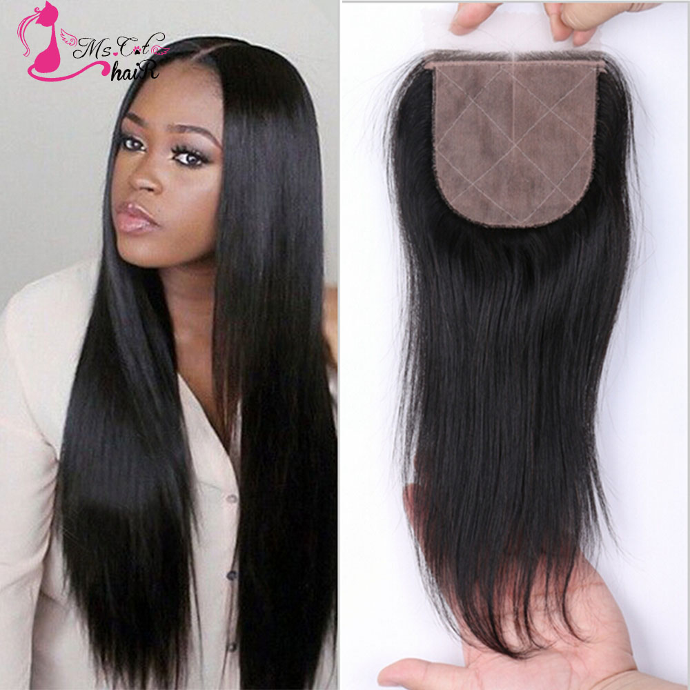 Brazilian Straight Silk Base Closure 10-16 Bleached Knots Middle Free Part Top Closure Unprocessed Brazilian Human Hair Closure<br><br>Aliexpress