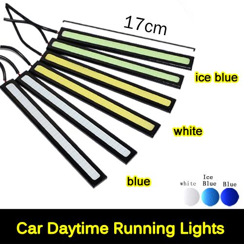 Housing Black 17cm 12V Daylight 6W COB Car LED DRL Waterproof Bumper Decorative Sticker Daytime Running Lights 1pcs/lot(China (Mainland))