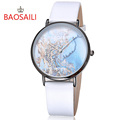 2016 BAOSAILI Top Brand Fashion Planet Color Marble Design Slim Case Japan Movement Waterproof Relogio Women